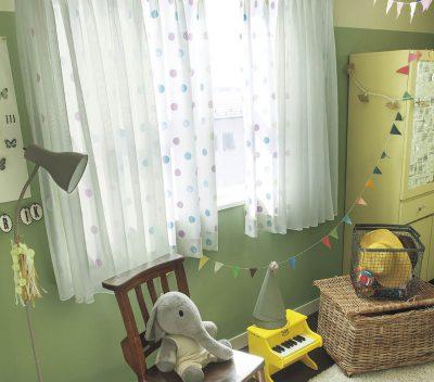 子ども部屋 カーテン 水玉