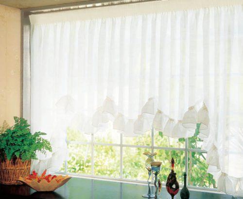 出窓 スカラップ スタイルカーテン M型