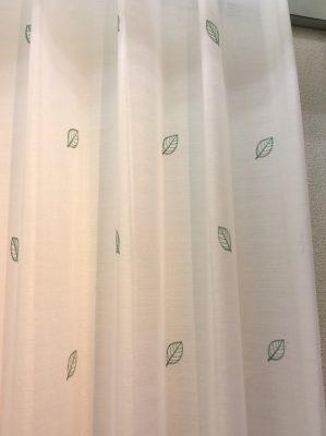 L3422 グリーン 刺繍 レースカーテン