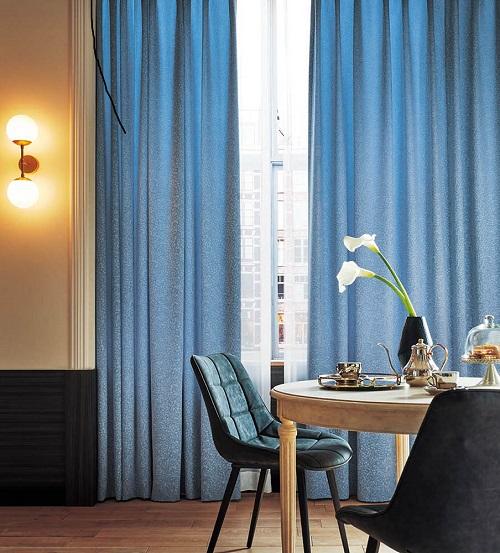 シンコー ドレープカーテン ブルー 上品 優雅